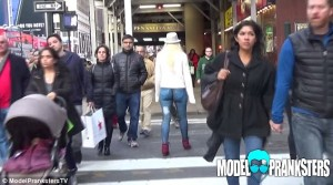 The model ventured out on the streets of New York, she was filmed from behind to gauge the reaction of the people who passed her