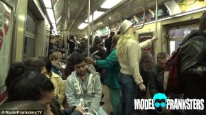 Even on a packed subway, no one noticed the model was not wearing pants