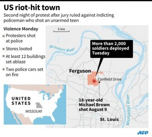 More than 2,000 soldiers have been were deployed in Ferguson to back up the local police force after a second night of violent protests (AFP)