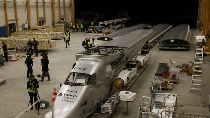 The dismantled Solar Impulse 2 aircraft is pictured before being loaded into a Cargolux Boeing 747 cargo aircraft at Payerne airport