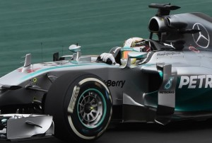 British driver Lewis Hamilton of Mercedes AMG Petronas takes part the first free practice at the Interlagos racetrack in Sao Paulo, Brazil on November 7, 2014  AFP Vanderlei Almeida