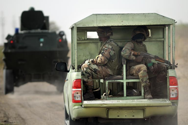 Soldiers patrol Boko Haram troubled area