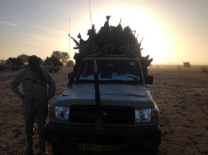 Soldiers of the Chadian army guard on January 21, 2015, the border between Nigeria and Cameroon, some 40 km from Maltam, as part of a military contingent against Boko Haram