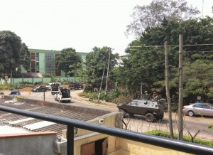 A picture showing security presence in Lagos on Saturday morning as INEC meets decides on likely postponement of elections.