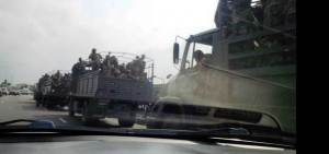 A picture showing soldiers along the Lekki Toll Gat, in Lagos  on Saturday February 7, 2015