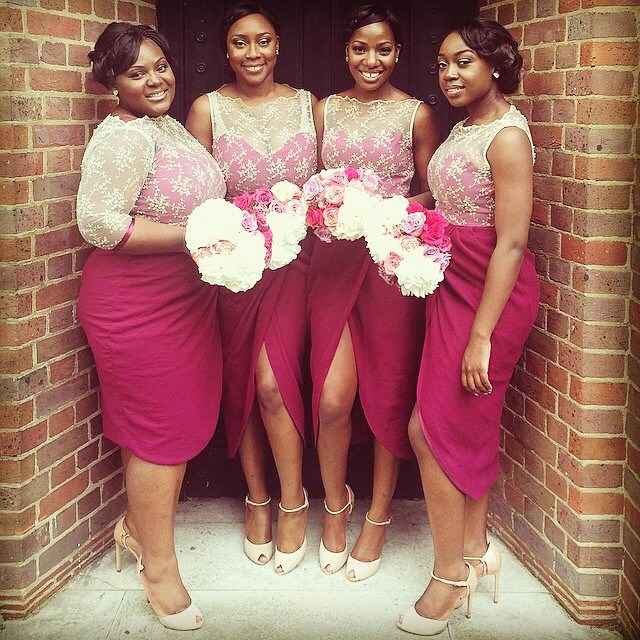 Nigerian Wedding Cream Lace Magenta Bridesmaids Dresses By