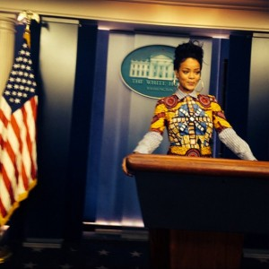 Rihanna answers mock questions in the White House