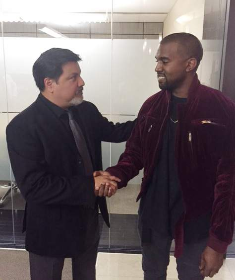 Videographer Daniel Ramos and Kanye West shaking hands after West apologized to Ramos as part of a settlement, in March 2015 in Los Angeles.