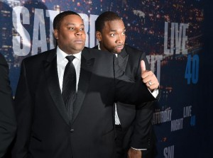 Kenan Thompson (L) and Jay Pharoah arrive for SNL 40th Anniversary Celebration at Rockefeller Plaza in New York, on February 15, 2015 Gett (AFP) Photo: Larry Busacca
