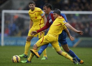 Liverpool's Joe Allen (R) and Crystal Palace's Marouane Chamakh during their Premier League match at Selhurst Park on November 23, 2014 (AFP) photo: Adrian Dennis