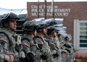 National Guard troops secure the police station in Ferguson, Missouri, following violent protests on November 25, 2014 (AFP) photo: Jewel Samad