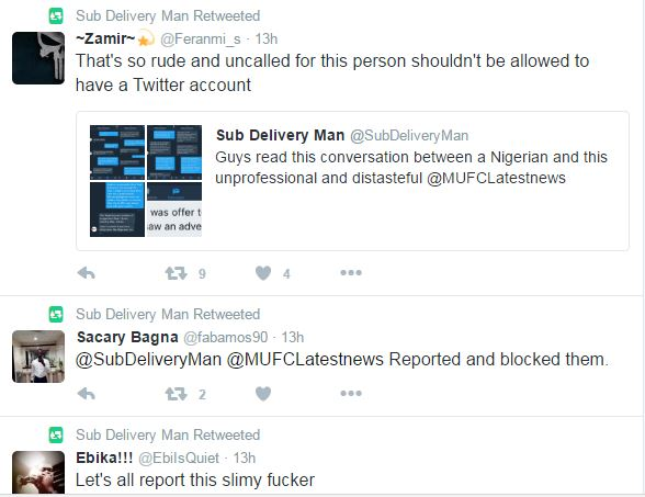 Nigerians are a waste of oxygen and flesh, scum country - @MUFCLatestNews lashes