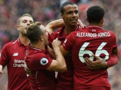 Joel Matip celebrates his goal
